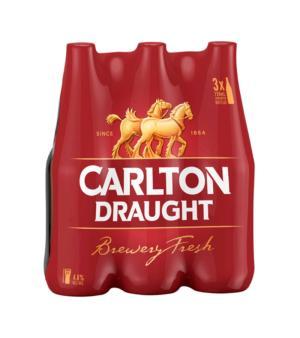 Carlton Draft Longneck 3pk