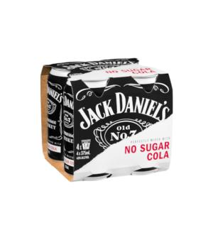 Jack Daniels No Sugar Cola Cans 4pk