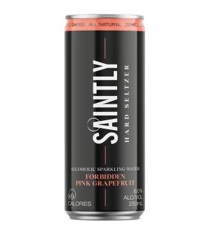 Saintly Forbidden Pink Grapefruit Seltzer Cans Case 24